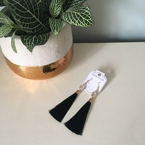 Jewelry - Vintage Black Teardrop Tassel Earrings